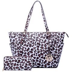 LE1009W LEOPARD TEXTURED SHOPPER TOTE BAG w/MATCHING WALLET~WHITE/BROWN