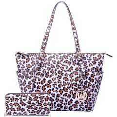 LE1009W LEOPARD TEXTURED SHOPPER TOTE BAG w/MATCHING WALLET~WHITE/TAN