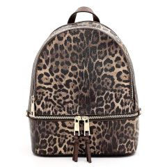 LE1062 LEOPARD TEXTURED BACKPACK BROWN