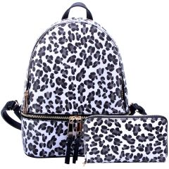 LE1062W LEOPARD TEXTURED BACKPACK w/MATCHING WALLET~WHITE/BLACK
