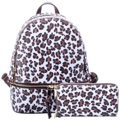 LE1062W LEOPARD TEXTURED BACKPACK w/MATCHING WALLET~WHITE/BROWN