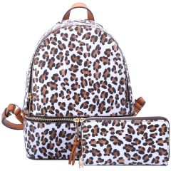 LE1062W LEOPARD TEXTURED BACKPACK w/MATCHING WALLET~WHITE/TAN