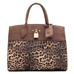 LE1099 LEOPARD TEXTURED TWO TONED SATCHEL BAG BROWN
