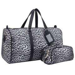LE1100 2-in-1 LEOPARD PRINT LARGE SIZE TRAVEL DUFFEL BAG w/LUGGAGE TAG AND POUCH~BLACK