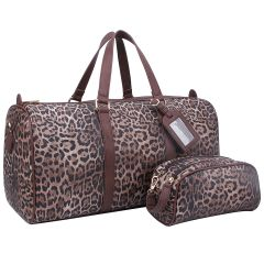 LE1100 2-in-1 LEOPARD PRINT LARGE SIZE TRAVEL DUFFEL BAG w/LUGGAGE TAG AND POUCH~BROWN