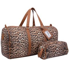 LE1100 2-in-1 LEOPARD PRINT LARGE SIZE TRAVEL DUFFEL BAG w/LUGGAGE TAG AND POUCH~TAN