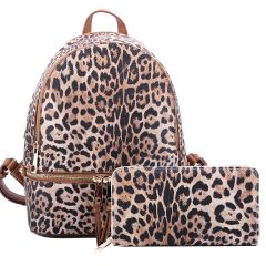 LE1062W LEOPARD TEXTURED BACKPACK w/MATCHING WALLET~TAN