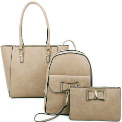 LF19188-T3 3-IN-1 MODERN STYLISH TOTE BACKPACK AND CLUTCH SET~APRICOT