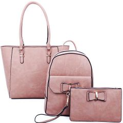 LF19188-T3 3-IN-1 MODERN STYLISH TOTE BACKPACK AND CLUTCH SET~PINK