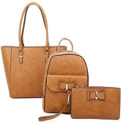 LF19188-T3 3-IN-1 MODERN STYLISH TOTE BACKPACK AND CLUTCH SET~BROWN