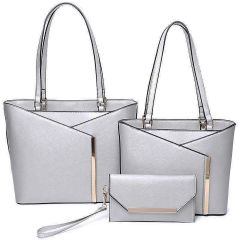 LF2112-T3 3-IN-1 MODERN STYLISH TOTE AND CLUTCH SET~SILVER