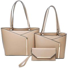 LF2112-T3 3-IN-1 MODERN STYLISH TOTE AND CLUTCH SET~STONE