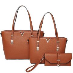 LF2121-T3 STYLISH V ACCENTED TOTE AND CLUTCH SET~BROWN