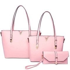 LF2121-T3 STYLISH V ACCENTED TOTE AND CLUTCH SET~PINK
