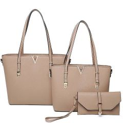 LF2121-T3 STYLISH V ACCENTED TOTE AND CLUTCH SET~STONE