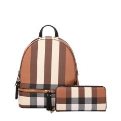 LM-7285W CLASSY PLAID PRINT BACKPACK AND WALLET SET~BLACK