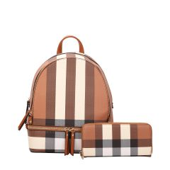 LM-7285W CLASSY PLAID PRINT BACKPACK AND WALLET SET~BROWN