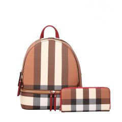 LM-7285W CLASSY PLAID PRINT BACKPACK AND WALLET SET~RED