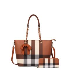 LM-8657W CLASSY PLAID PRINT BOW ACCENT TOTE WALLET SET~BROWN
