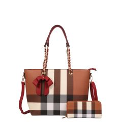 LM-8657W CLASSY PLAID PRINT BOW ACCENT TOTE WALLET SET~RED