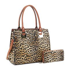 LM19627 LEOPARD PRINT 2-in-1 BOXY SATCHEL~LEO/BROWN