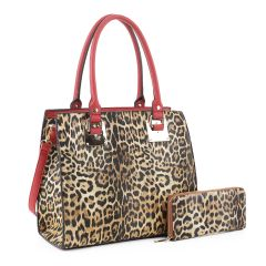 LM19627 LEOPARD PRINT 2-in-1 BOXY SATCHEL~LEO/RED