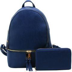LP1062W 2-in-1 MULTI COMPARTMENT BACKPACK SET w/WALLET~NAVY