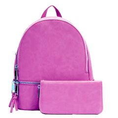 LP1062W 2-in-1 MULTI COMPARTMENT BACKPACK SET w/WALLET~FUCHSIA