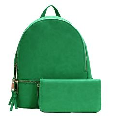 LP1062W 2-in-1 MULTI COMPARTMENT BACKPACK SET w/WALLET~GREEN