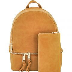 LP1062W 2-in-1 MULTI COMPARTMENT BACKPACK SET w/WALLET~MUSTARD