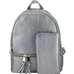 LP1062W 2-in-1 MULTI COMPARTMENT BACKPACK SET w/WALLET~PEWTER