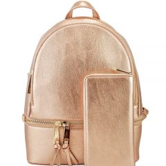 LP1062W 2-in-1 MULTI COMPARTMENT BACKPACK SET w/WALLET~ROSE GOLD
