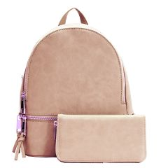 LP1062W 2-in-1 MULTI COMPARTMENT BACKPACK SET w/WALLET~ROSE PINK