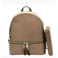 LP1062W 2-in-1 MULTI COMPARTMENT BACKPACK SET w/WALLET~STONE