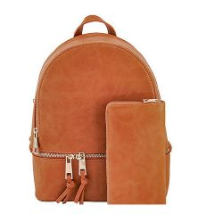 LP1062W 2-in-1 MULTI COMPARTMENT BACKPACK SET w/WALLET~TAN