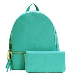LP1062W 2-in-1 MULTI COMPARTMENT BACKPACK SET w/WALLET~TURQUOISE