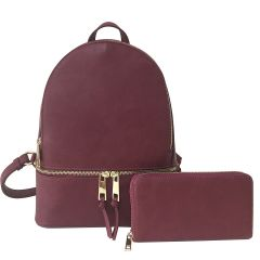 LP1062W 2-in-1 MULTI COMPARTMENT BACKPACK SET w/WALLET~CRANBERRY