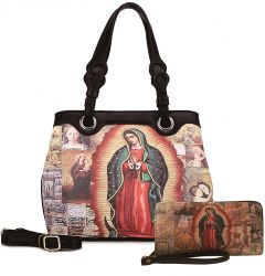MI801 2-in-1 OUR LADY GUADALUPE HANDBAG and WALLET SET~BLACK