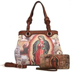 MI801 2-in-1 OUR LADY GUADALUPE HANDBAG and WALLET SET~TAN