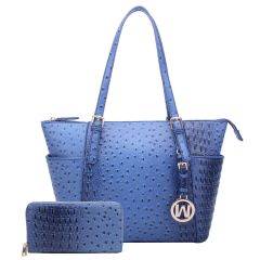 OS1009W OSTRICH EMBOSSED TOTE w/MATCHING WALLET~ROYAL BLUE