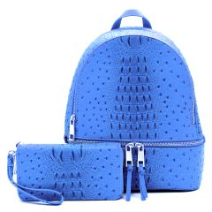 OS1062W OSTRICH and CROC 2-in-1 FASHION BACKPACK w/MATCHING WALLET SET~ROYAL BLUE