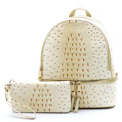 OS1062W OSTRICH and CROC 2-in-1 FASHION BACKPACK w/MATCHING WALLET SET~BEIGE
