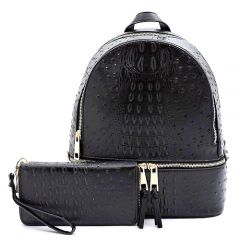 OS1062W OSTRICH and CROC 2-in-1 FASHION BACKPACK w/MATCHING WALLET SET~BLACK