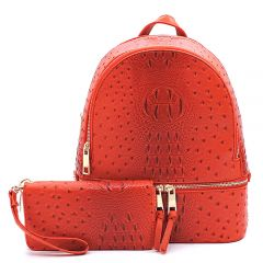 OS1062W OSTRICH and CROC 2-in-1 FASHION BACKPACK w/MATCHING WALLET SET~BURNT ORANGE