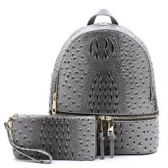 OS1062W OSTRICH and CROC 2-in-1 FASHION BACKPACK w/MATCHING WALLET SET~DARK GREY