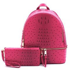OS1062W OSTRICH and CROC 2-in-1 FASHION BACKPACK w/MATCHING WALLET SET~MAGENTA