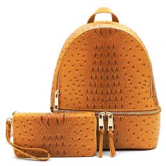 OS1062W OSTRICH and CROC 2-in-1 FASHION BACKPACK w/MATCHING WALLET SET~MUSTARD