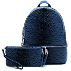 OS1062W OSTRICH and CROC 2-in-1 FASHION BACKPACK w/MATCHING WALLET SET~NAVY