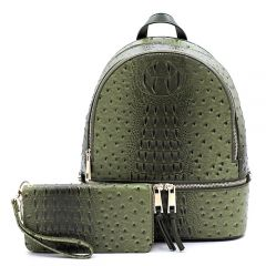 OS1062W OSTRICH and CROC 2-in-1 FASHION BACKPACK w/MATCHING WALLET SET~OLIVE