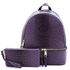 OS1062W OSTRICH and CROC 2-in-1 FASHION BACKPACK w/MATCHING WALLET SET~PURPLE